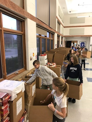 GIS Student Council Boxes Thanksgiving Food Donations