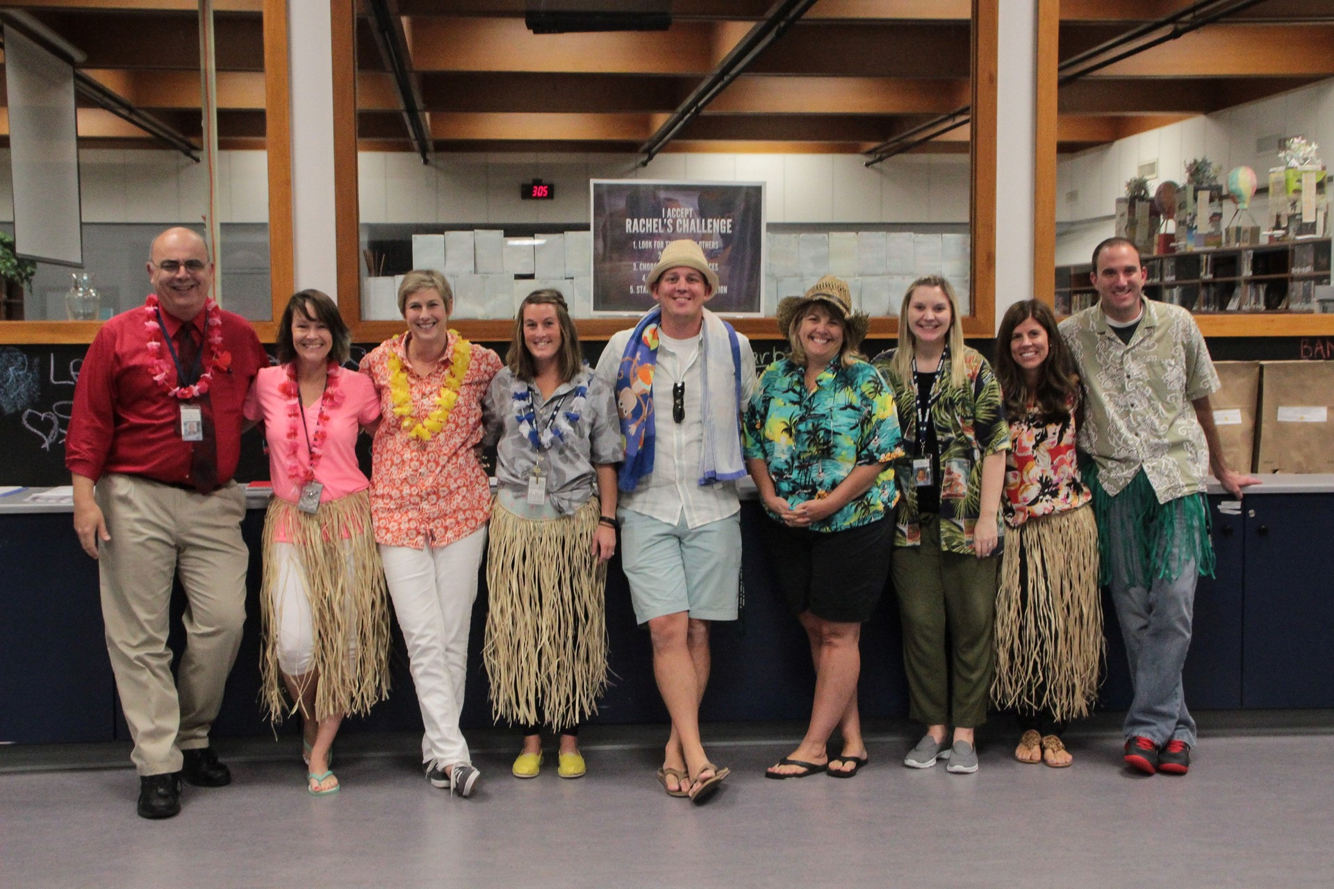 Staff getting into Spirit Week