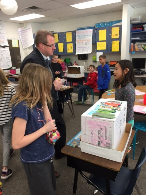 Christine Jude's 3rd-graders created their own businesses & presented to Superintendent Jeff Brown