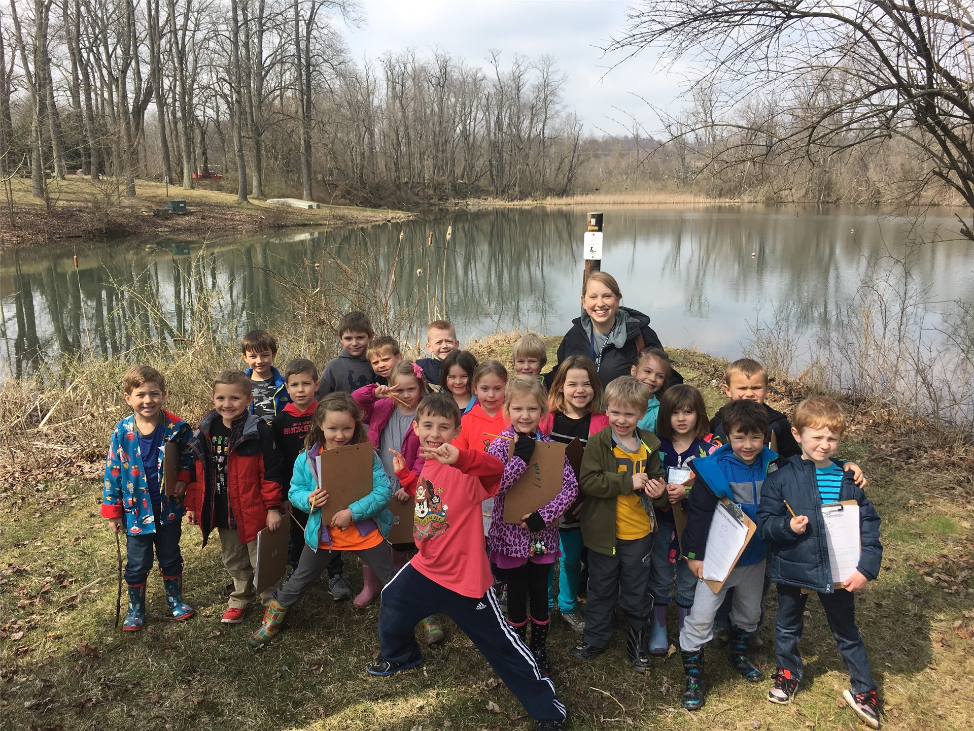 Laura Krebehenne's kindergarten class does freshwater research at Ebaugh Pond