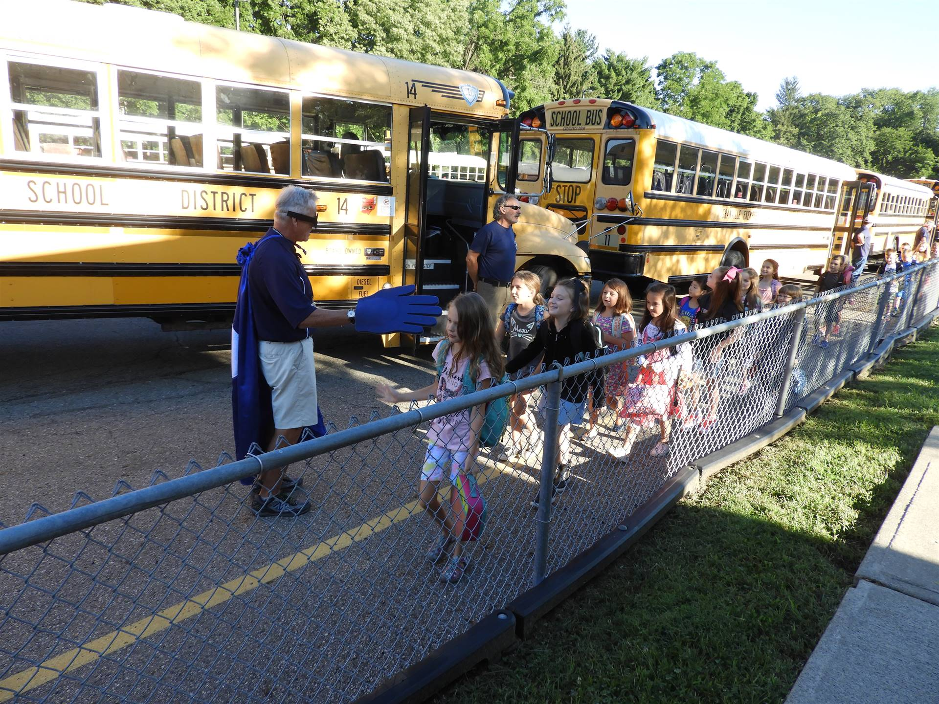 Safely Unloading Buses at GES on the First Day of School