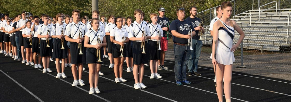 Alumni march with Band at Homecoming