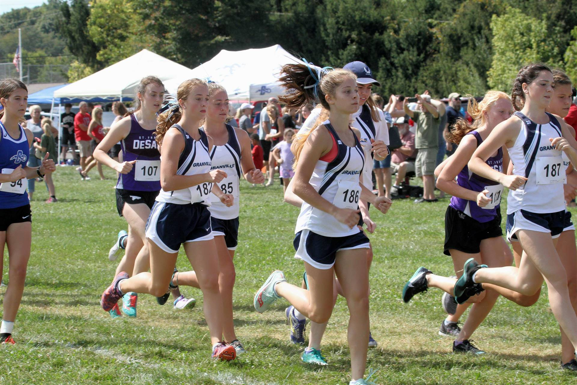 Girls competing in Cross Country