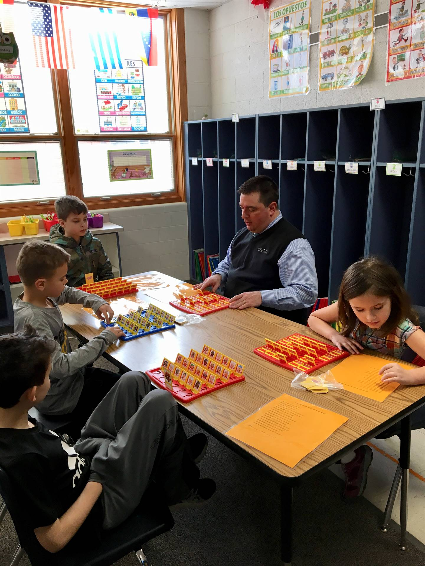 """Mr. Bernath plays """"Guess Who?"""" Spanish game"""