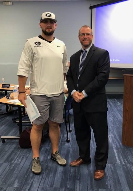 August 2019 GHS Varsity Baseball Coach Adam Bennett with Jeff Brown