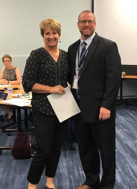 GMS Science Teacher receiving Transcendia Award September 2019