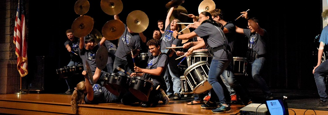 GHS Percussion section having fun at Convocation