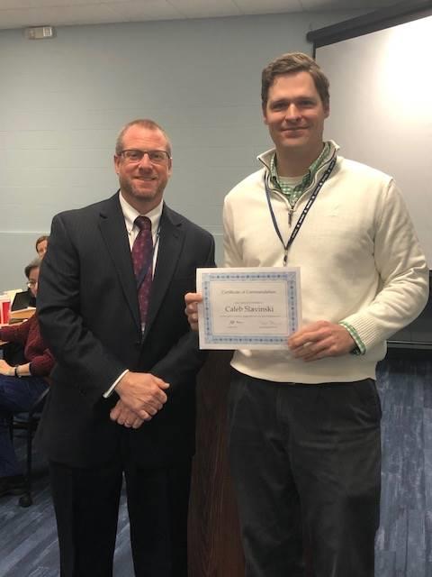 GHS Math Teacher Caleb Slavinski and Superintendent Jeff Brown