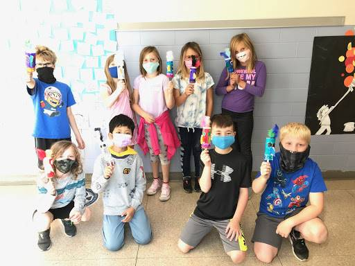GES students with the bird rattles they created