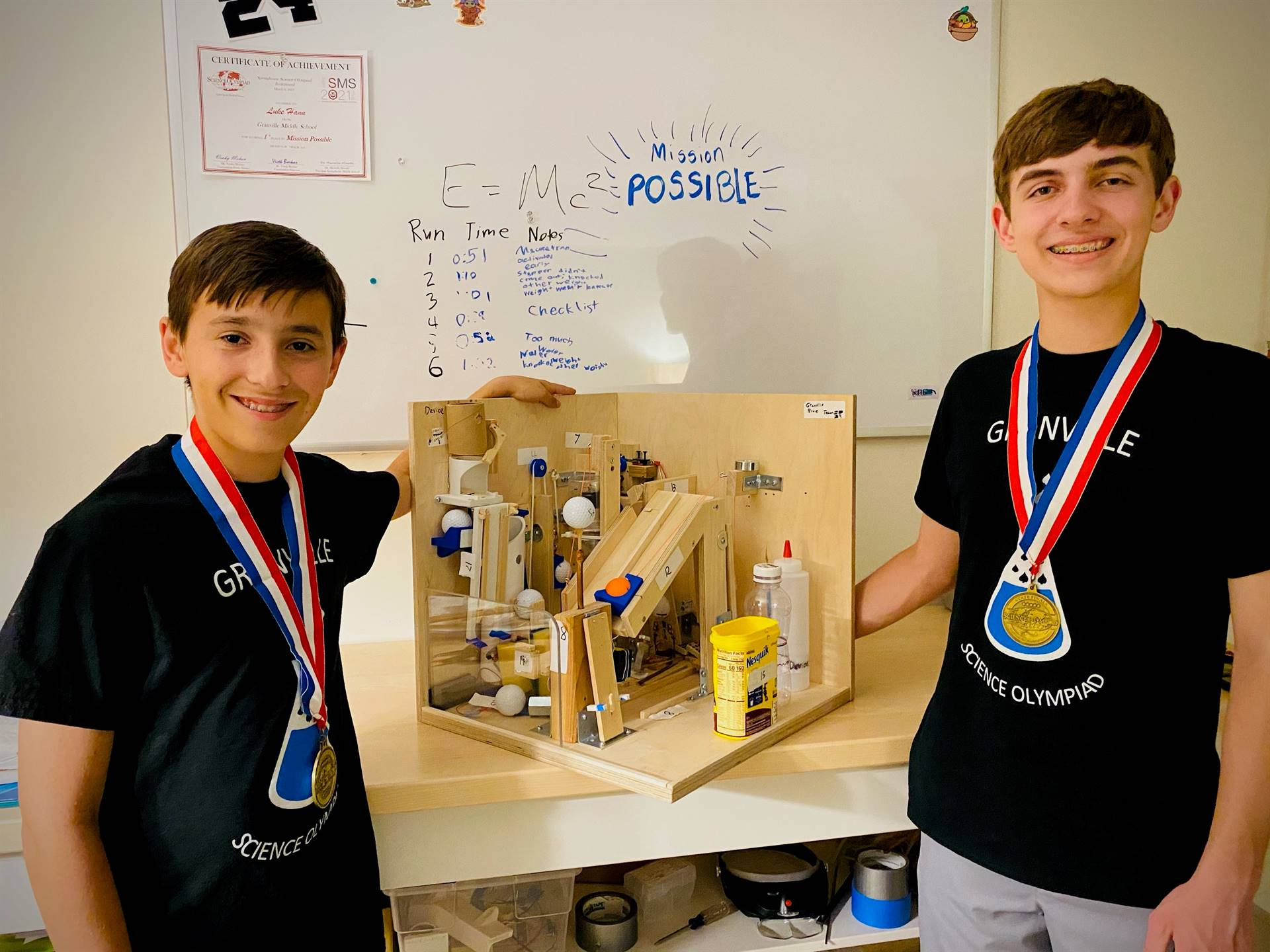Luke and Jack Hann with their State Champ project for Science Olympiad